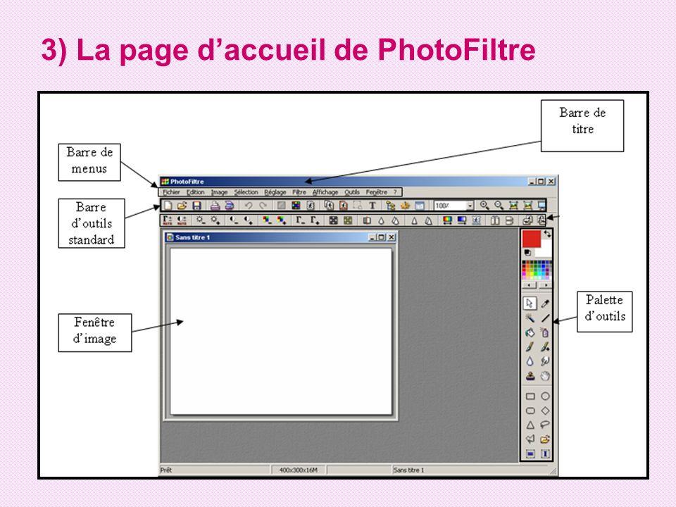3) La page d'accueil de PhotoFiltre