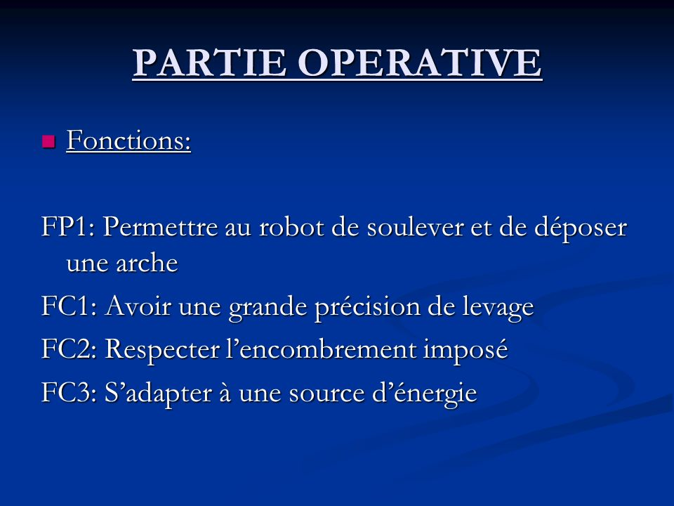 PARTIE OPERATIVE Fonctions: