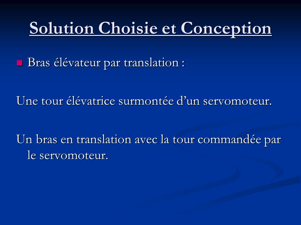 Solution Choisie et Conception