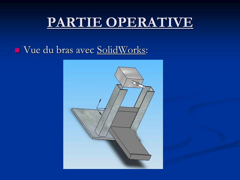 PARTIE OPERATIVE Vue du bras avec SolidWorks: