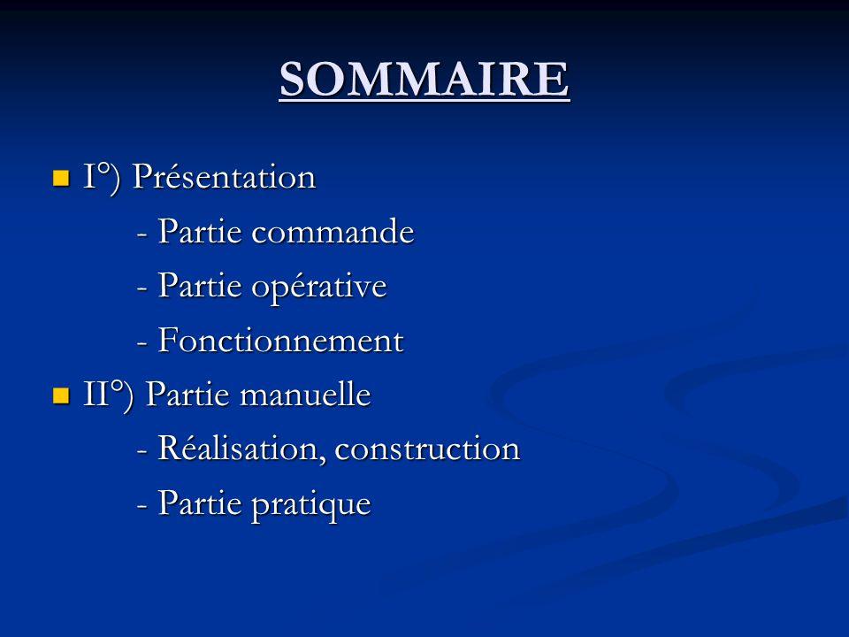 SOMMAIRE I°) Présentation - Partie commande - Partie opérative