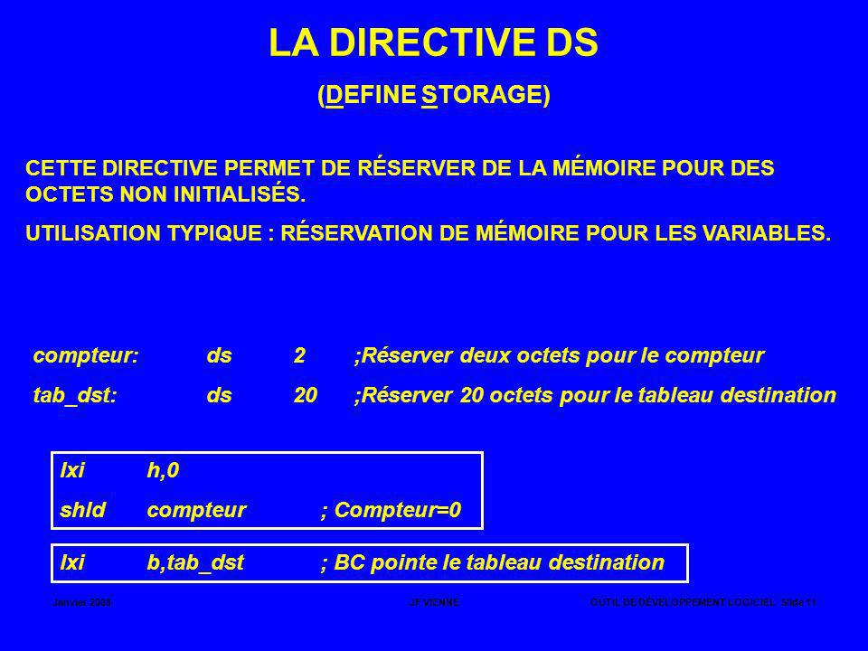 LA DIRECTIVE DS (DEFINE STORAGE)
