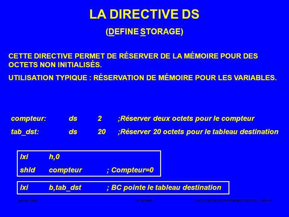 LA DIRECTIVE DS (DEFINE STORAGE)