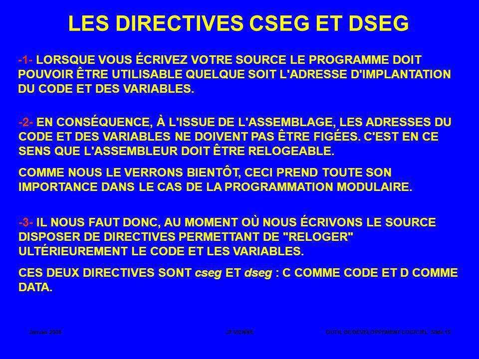 LES DIRECTIVES CSEG ET DSEG