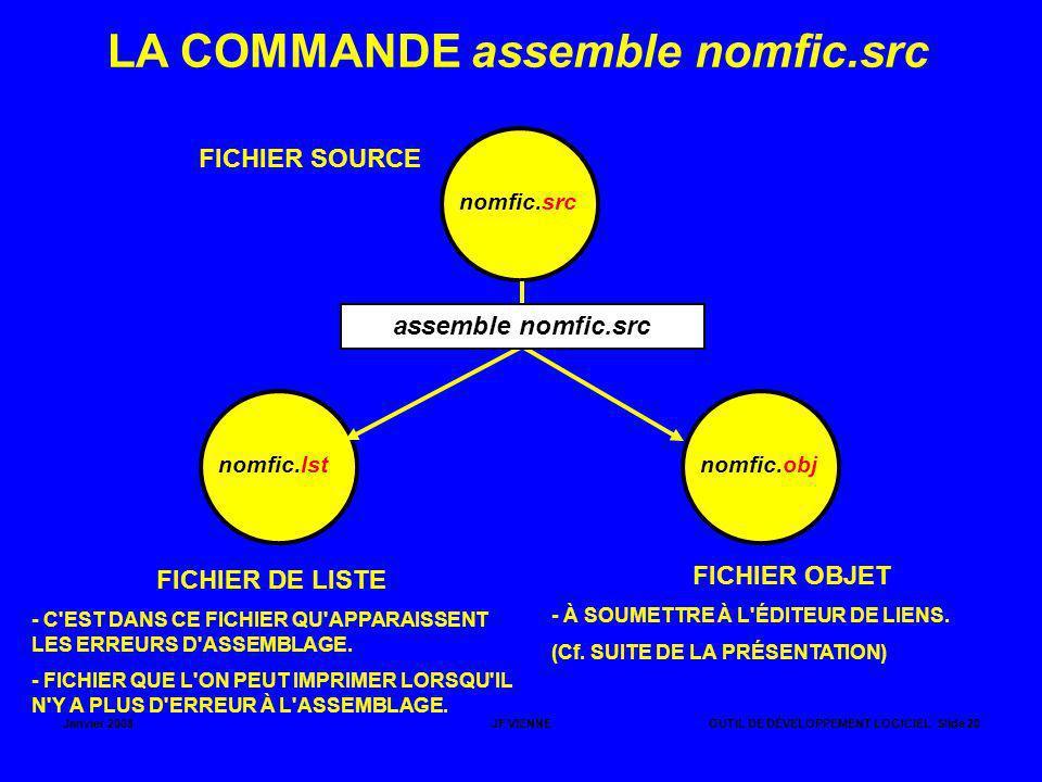 LA COMMANDE assemble nomfic.src