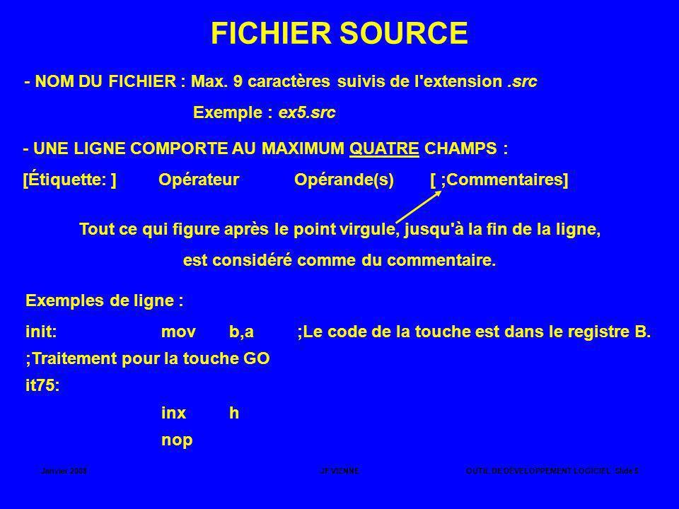 FICHIER SOURCE - NOM DU FICHIER : Max. 9 caractères suivis de l extension .src. Exemple : ex5.src.