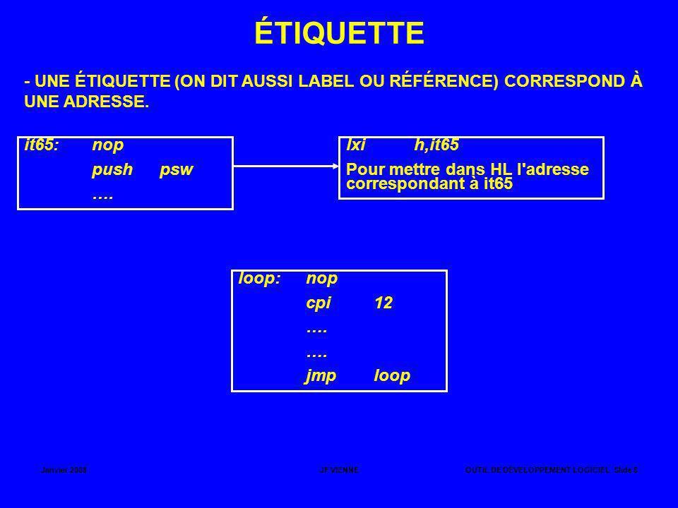 ÉTIQUETTE - UNE ÉTIQUETTE (ON DIT AUSSI LABEL OU RÉFÉRENCE) CORRESPOND À UNE ADRESSE. it65: nop.