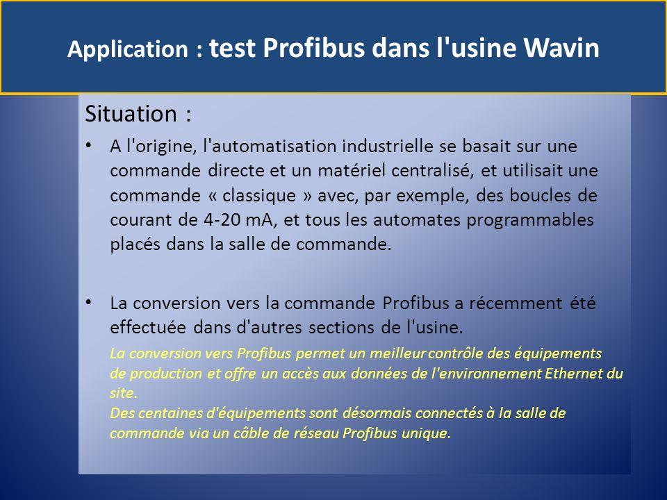 Application : test Profibus dans l usine Wavin