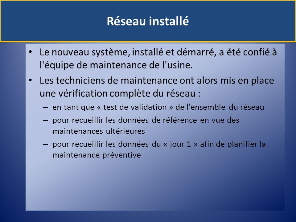 Réseau installé Le nouveau système, installé et démarré, a été confié à l équipe de maintenance de l usine.