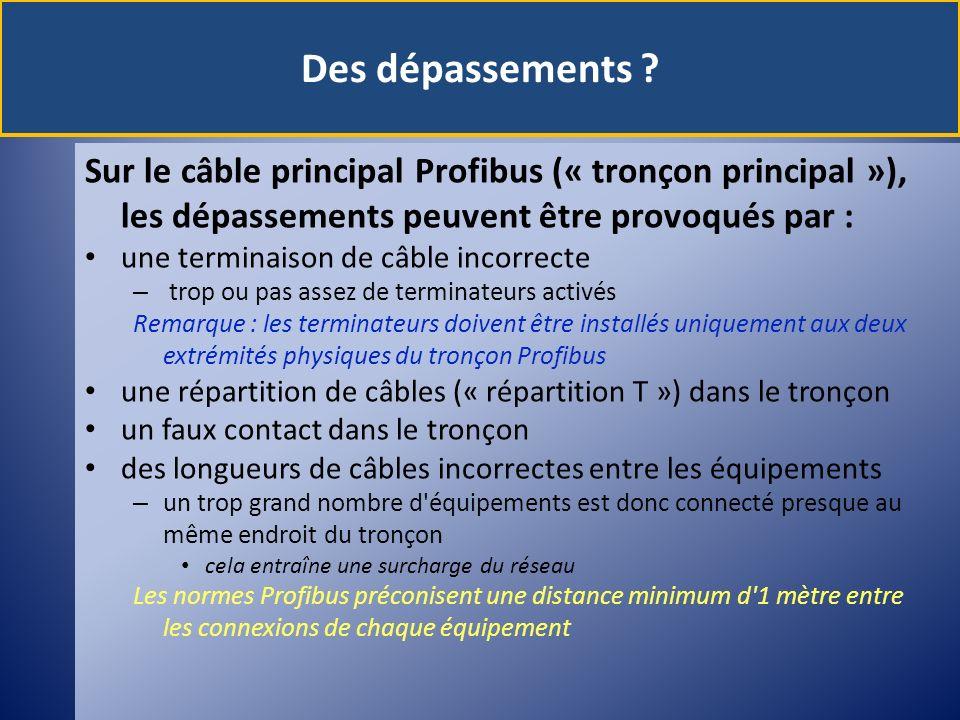 Des dépassements Sur le câble principal Profibus (« tronçon principal »), les dépassements peuvent être provoqués par :