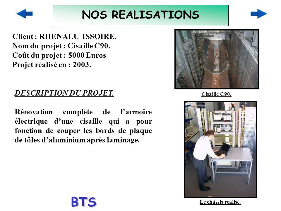 BTS ELECTROTECHNIQUE NOS REALISATIONS Client : RHENALU ISSOIRE.