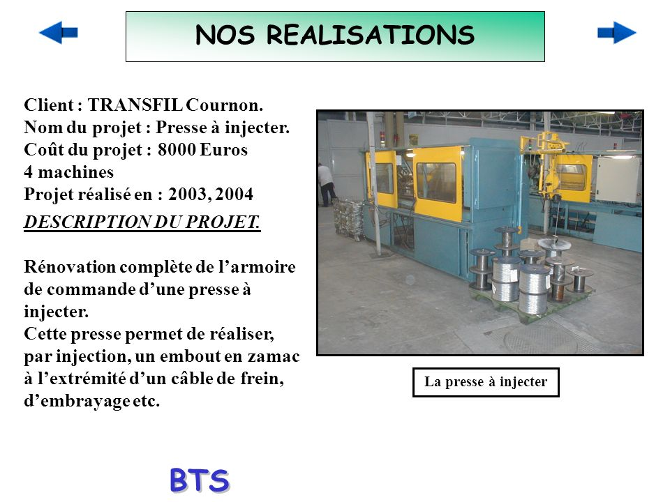 BTS ELECTROTECHNIQUE NOS REALISATIONS Client : TRANSFIL Cournon.