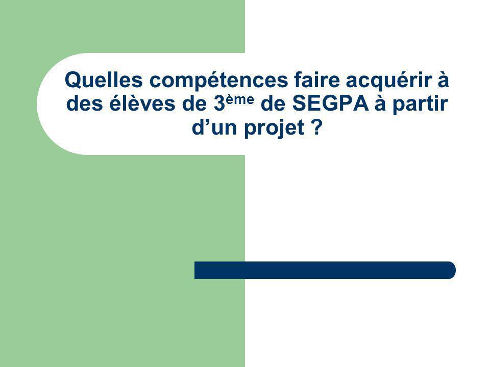 Quelles compétences faire acquérir à des élèves de 3ème de SEGPA à partir d'un projet