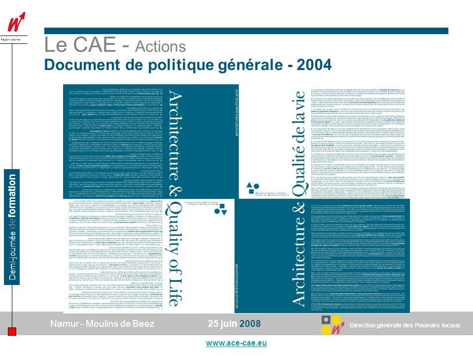 Le CAE - Actions Document de politique générale - 2004