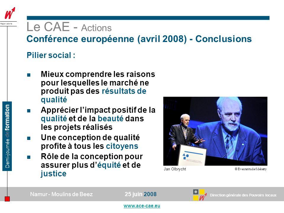 Le CAE - Actions Conférence européenne (avril 2008) - Conclusions