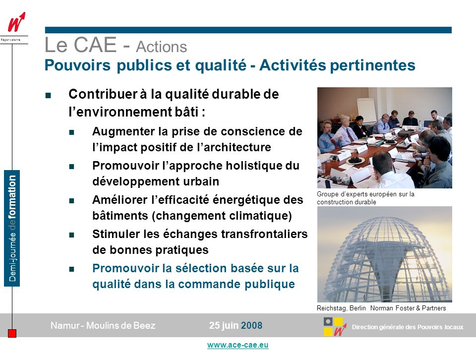Le CAE - Actions Pouvoirs publics et qualité - Activités pertinentes