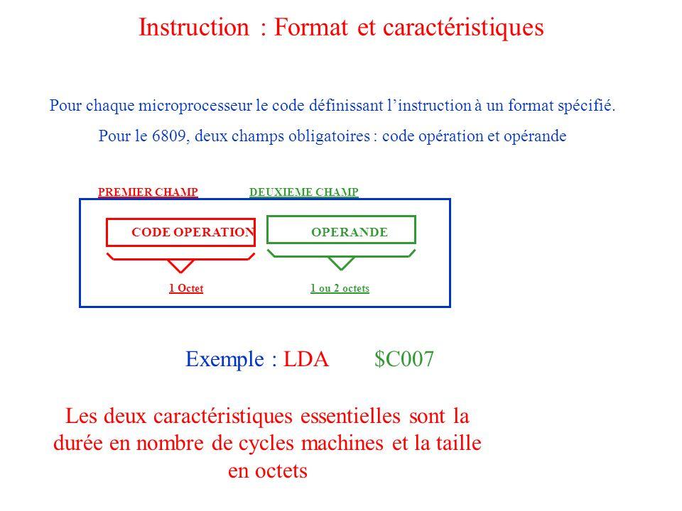 Instruction : Format et caractéristiques