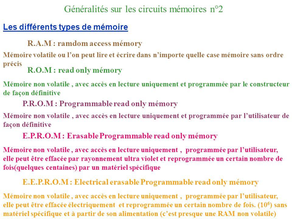 Généralités sur les circuits mémoires n°2