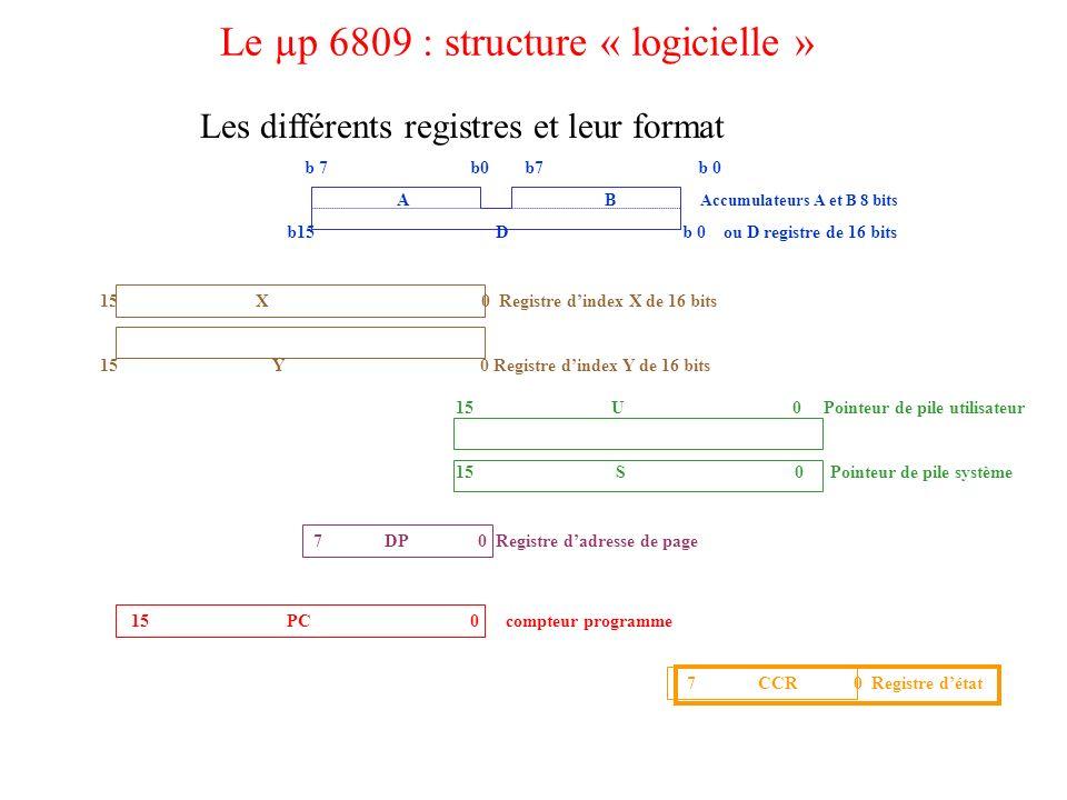 Le µp 6809 : structure « logicielle »