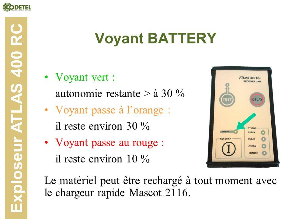 Exploseur ATLAS 400 RC Voyant BATTERY Voyant vert :