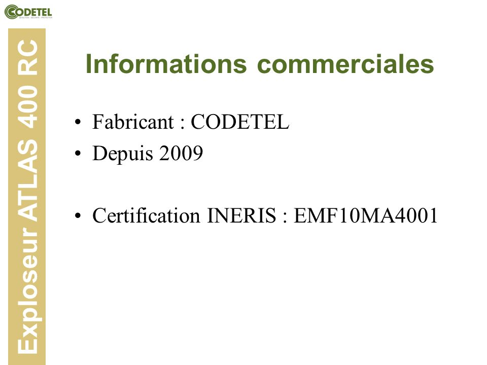 Informations commerciales