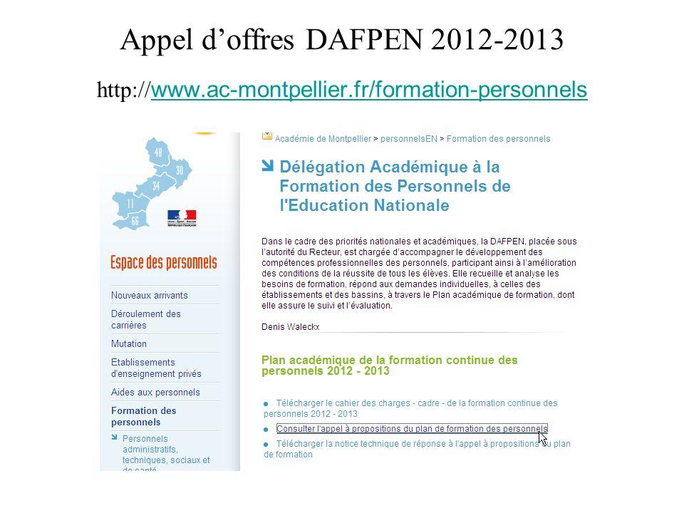 Appel d'offres DAFPEN 2012-2013 http://www. ac-montpellier