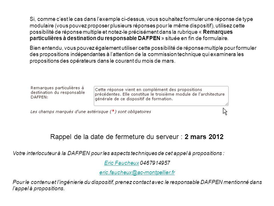 Rappel de la date de fermeture du serveur : 2 mars 2012