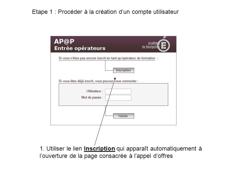 Etape 1 : Procéder à la création d'un compte utilisateur
