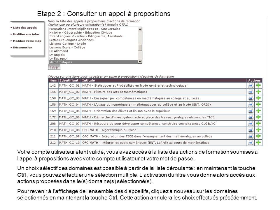 Etape 2 : Consulter un appel à propositions
