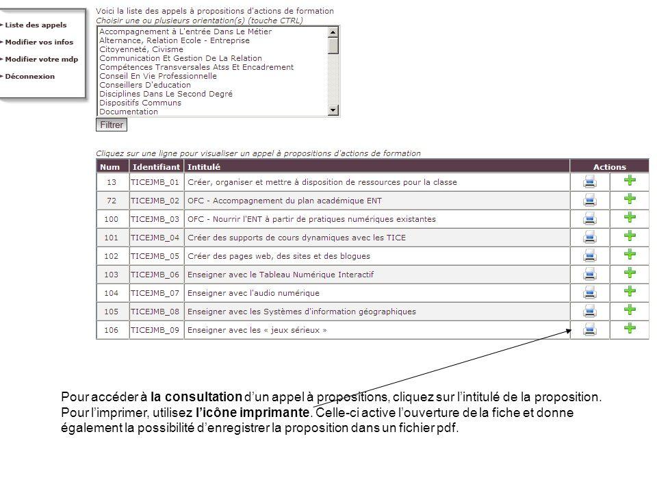 Pour accéder à la consultation d'un appel à propositions, cliquez sur l'intitulé de la proposition.