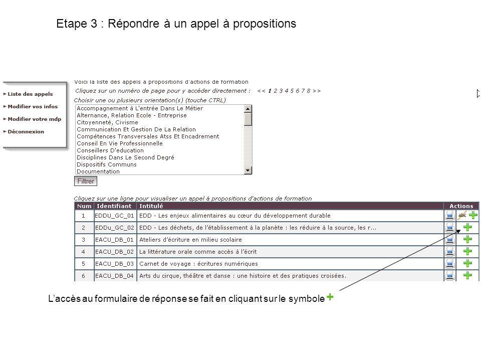 Etape 3 : Répondre à un appel à propositions