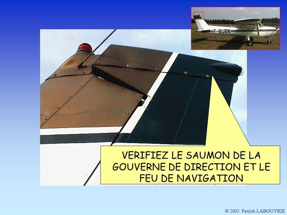 VERIFIEZ LE SAUMON DE LA GOUVERNE DE DIRECTION ET LE FEU DE NAVIGATION