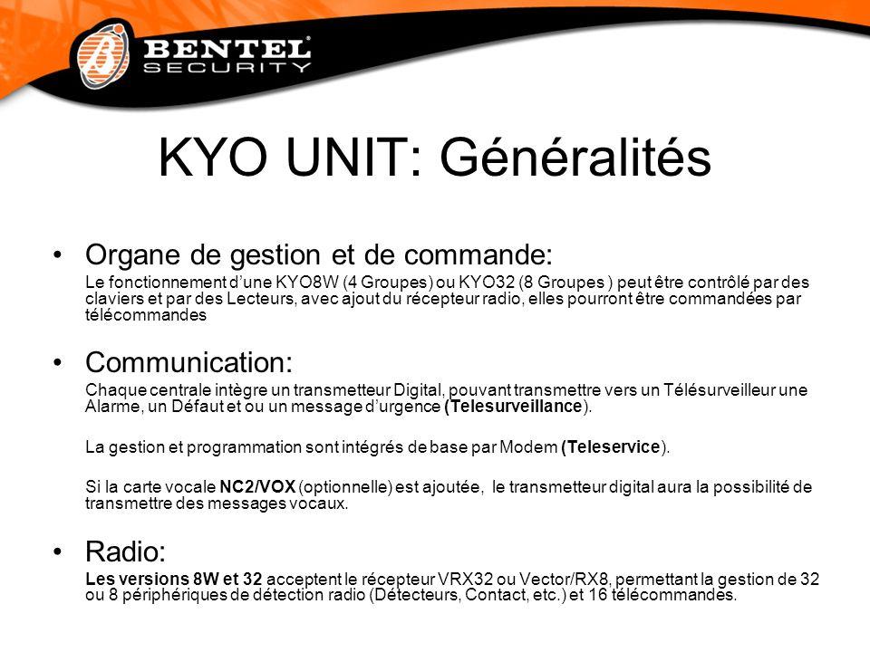 KYO UNIT: Généralités Organe de gestion et de commande: Communication: