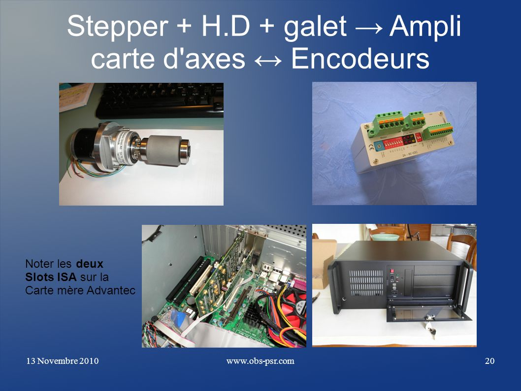 Stepper + H.D + galet → Ampli carte d axes ↔ Encodeurs