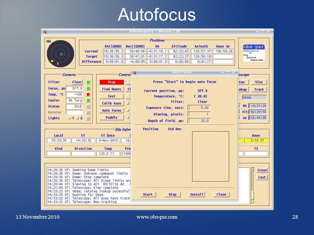 Autofocus 13 Novembre 2010 www.obs-psr.com