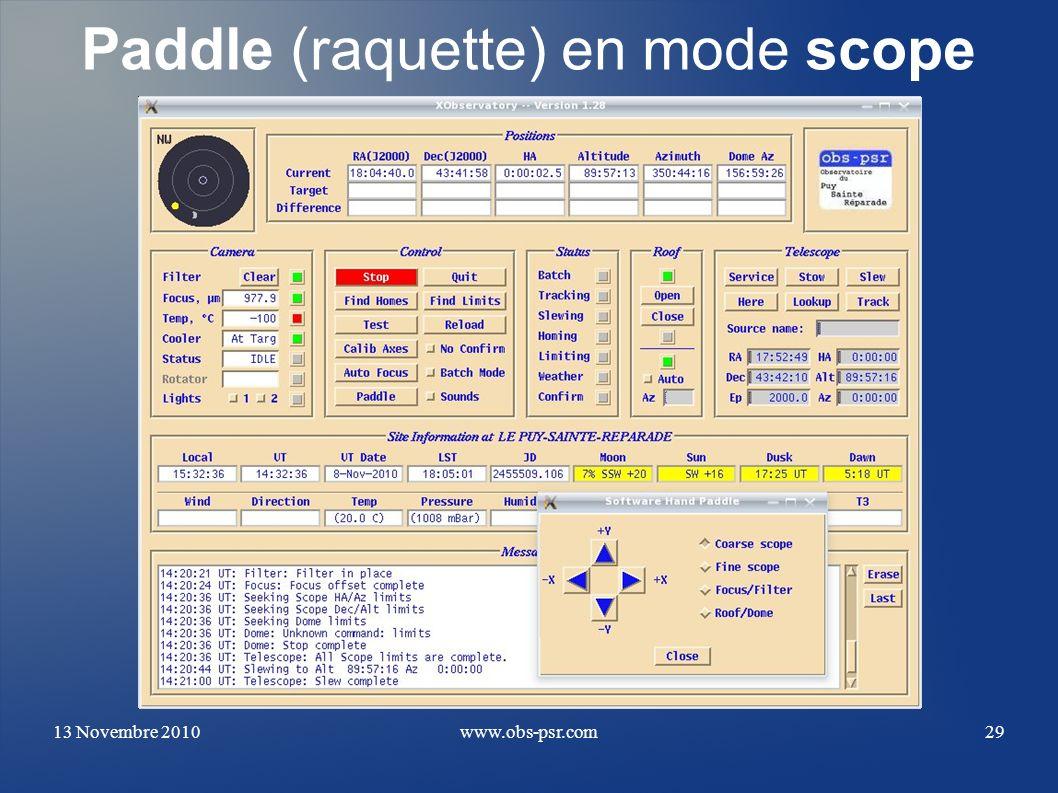 Paddle (raquette) en mode scope