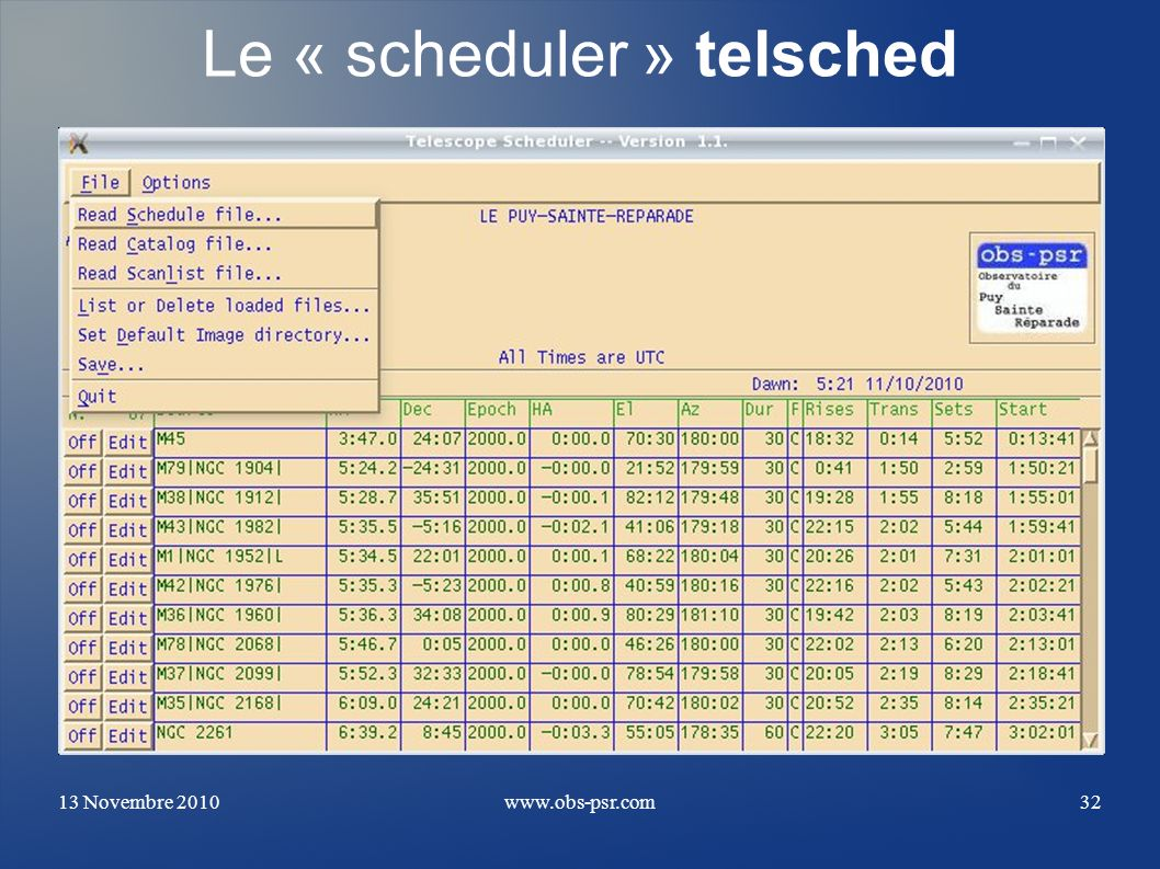 Le « scheduler » telsched