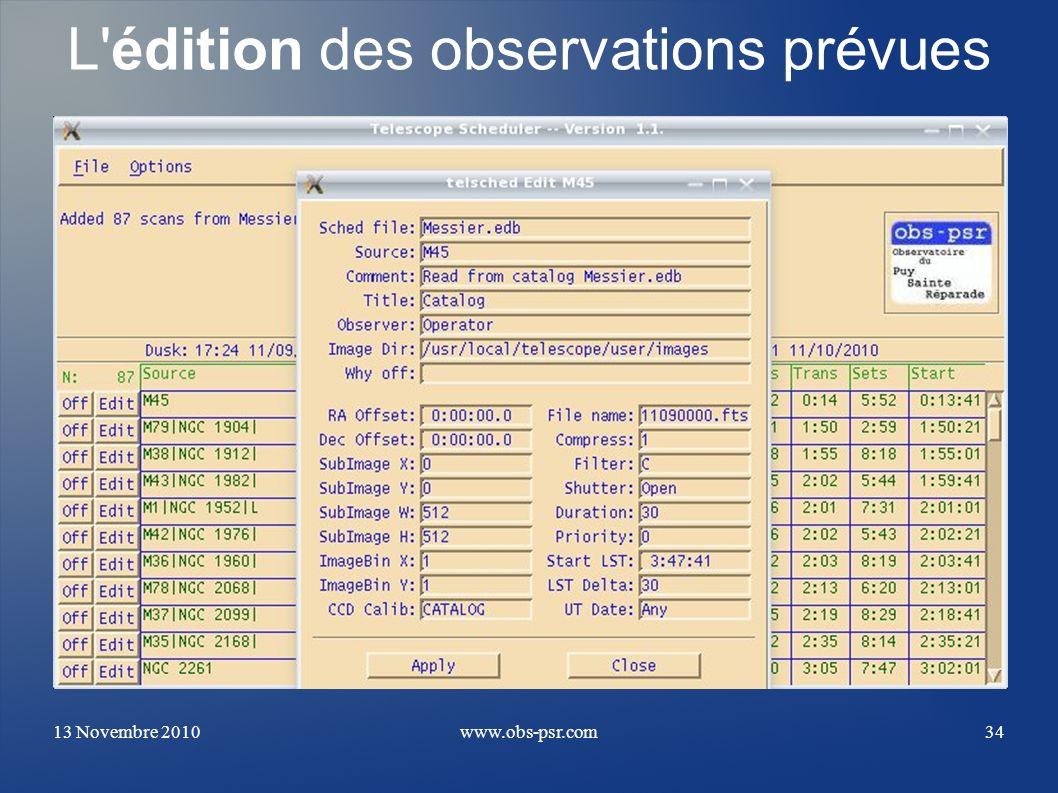 L édition des observations prévues