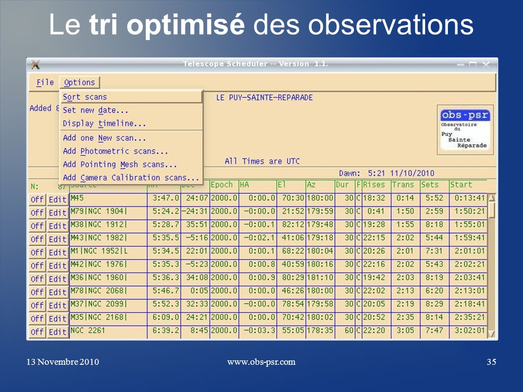 Le tri optimisé des observations