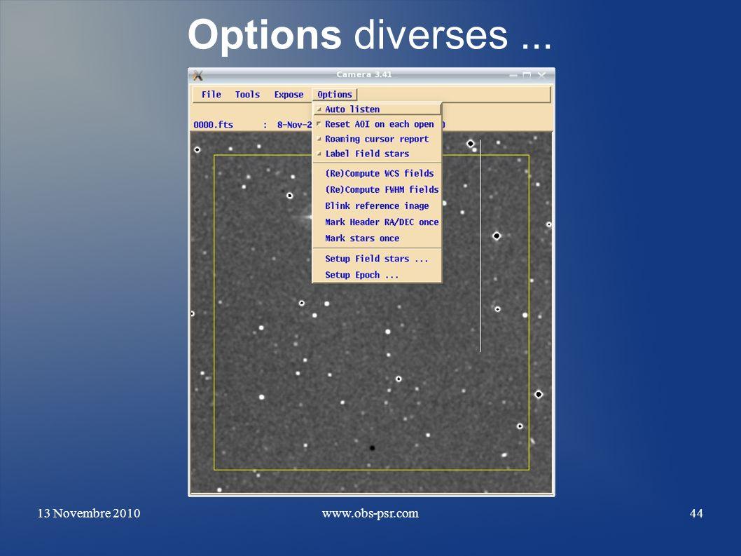 Options diverses ... 13 Novembre 2010 www.obs-psr.com
