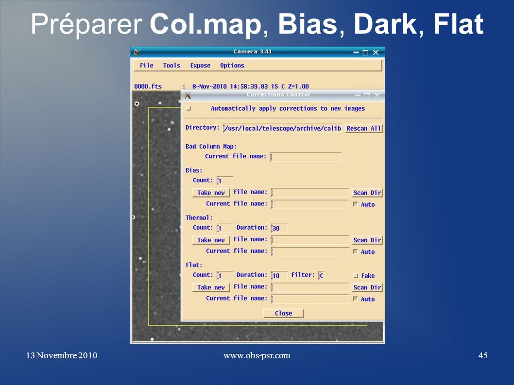 Préparer Col.map, Bias, Dark, Flat