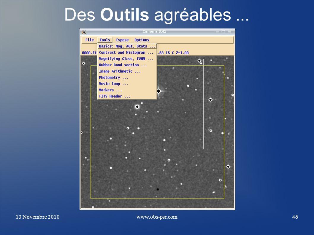 Des Outils agréables ... 13 Novembre 2010 www.obs-psr.com