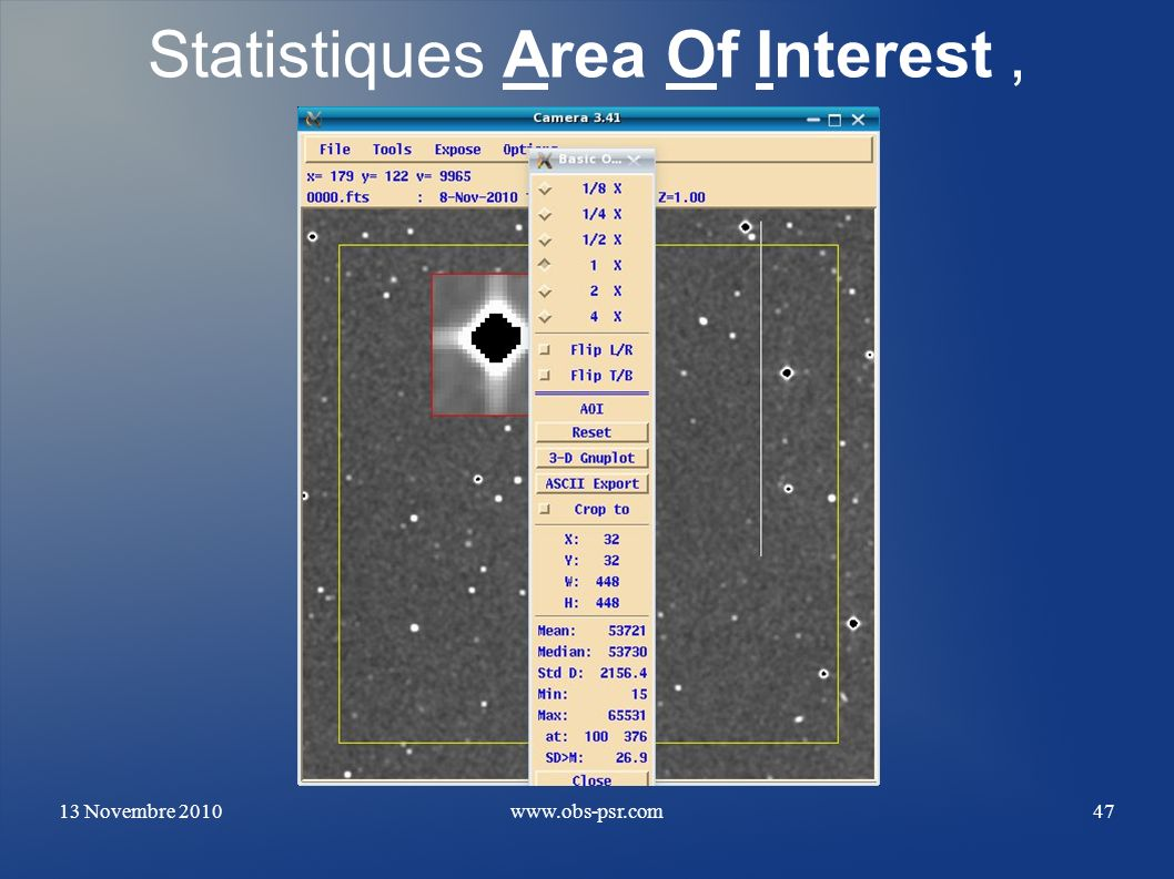 Statistiques Area Of Interest ,