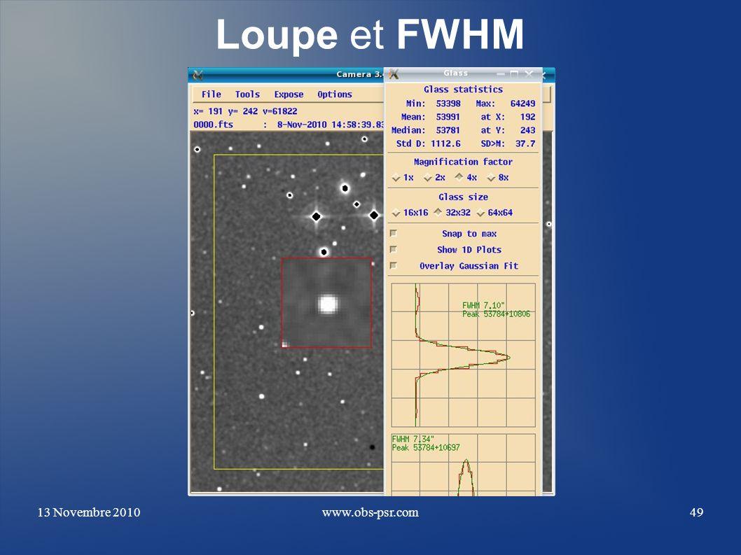Loupe et FWHM 13 Novembre 2010 www.obs-psr.com