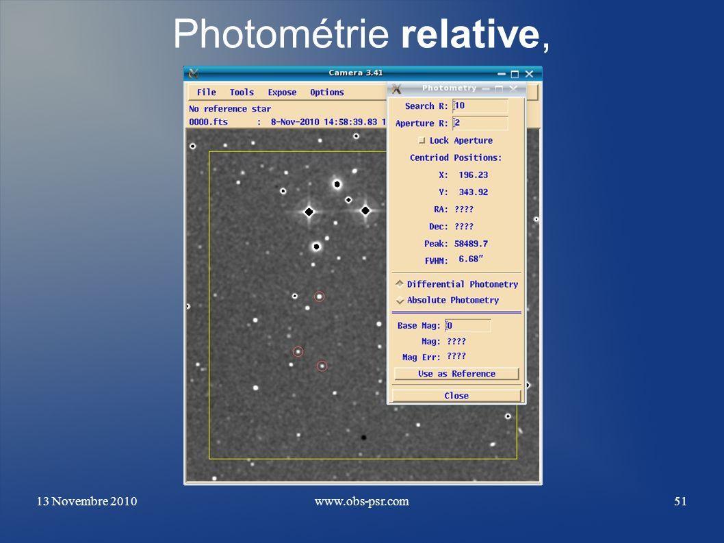 Photométrie relative, 13 Novembre 2010 www.obs-psr.com