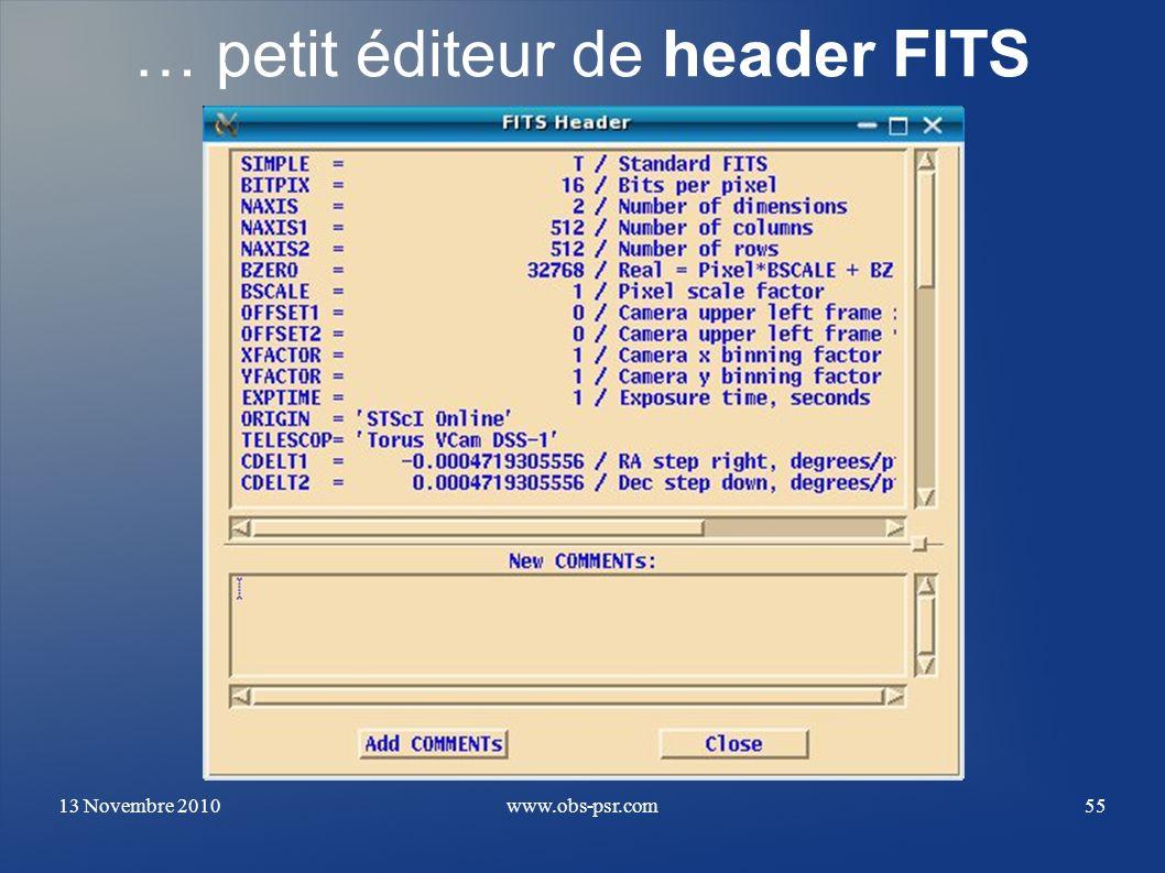… petit éditeur de header FITS