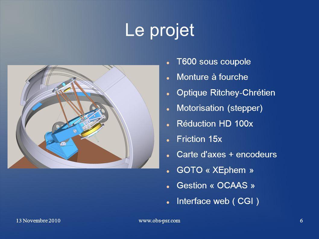 Le projet T600 sous coupole Monture à fourche Optique Ritchey-Chrétien