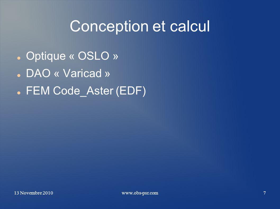 Conception et calcul Optique « OSLO » DAO « Varicad »