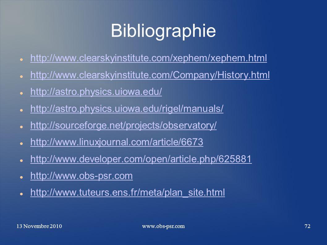 Bibliographie http://www.clearskyinstitute.com/xephem/xephem.html