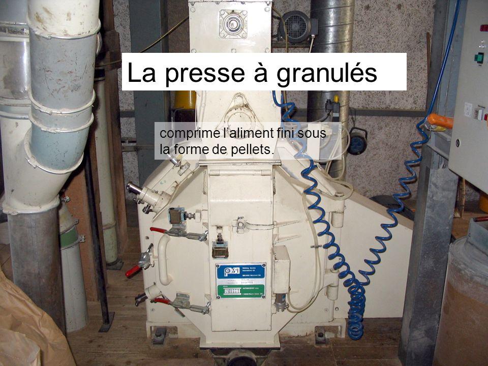 La presse à granulés comprime l'aliment fini sous la forme de pellets.